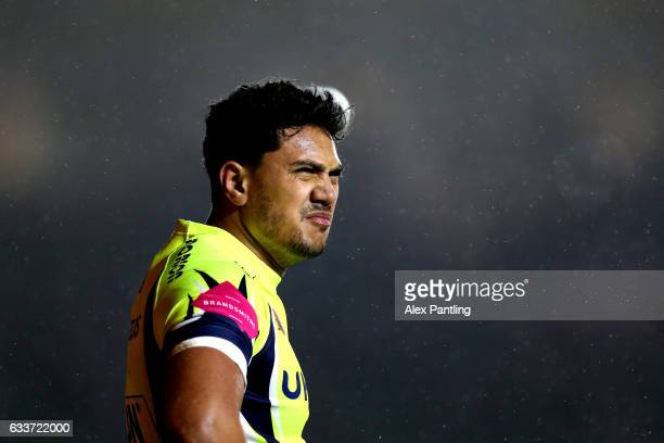 Denny Solomona of Sale Sharks looks on during the AngloWelsh Cup match between Harlequins and Sale Sharks at Twickenham Stoop on February 3 2017 in...