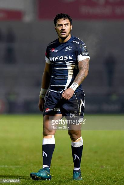Denny Solomona of Sale Sharks looks on during the European Rugby Champions Cup match between Sale Sharks and Saracens at AJ Bell Stadium on December...
