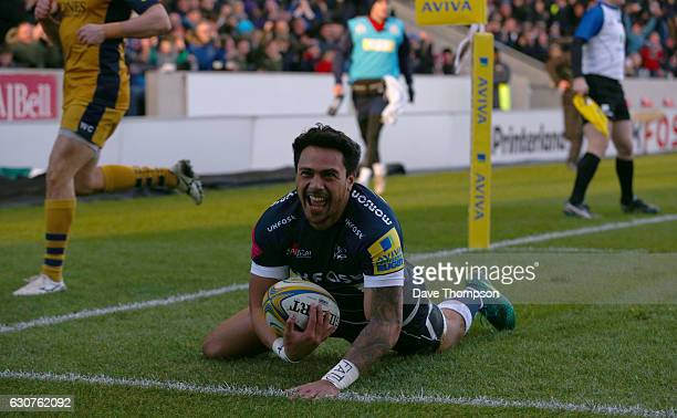 Denny Solomona of Sale Sharks scores a try during the Aviva Premiership match between Sale Sharks and Bristol Rugby at AJ Bell Stadium on January 1...