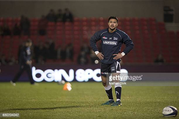Denny Solomona of Sale Sharks warms up before the European Rugby Champions Cup match between Sale Sharks and Saracens at AJ Bell Stadium on December...