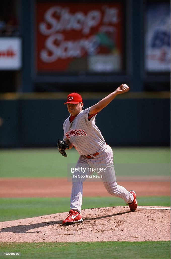 Dennys Reyes of the Cincinnati Reds pitches during a game against the St Louis Cardinals on September 5, 1998.