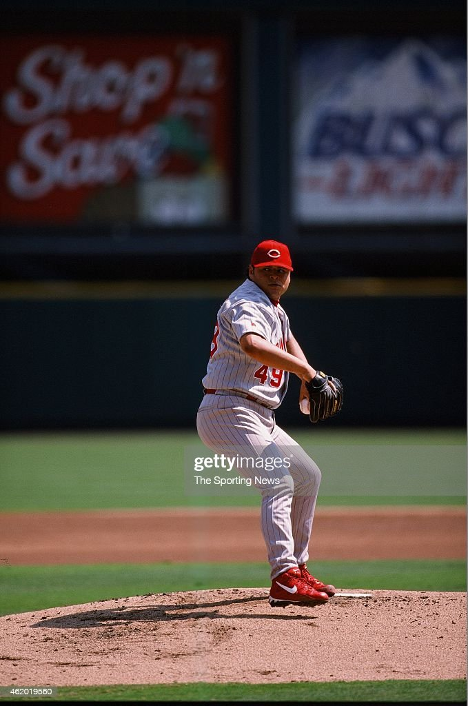 <a gi-track='captionPersonalityLinkClicked' href=/galleries/search?phrase=Dennys+Reyes&family=editorial&specificpeople=216363 ng-click='$event.stopPropagation()'>Dennys Reyes</a> of the Cincinnati Reds pitches during a game against the St Louis Cardinals on September 5, 1998.