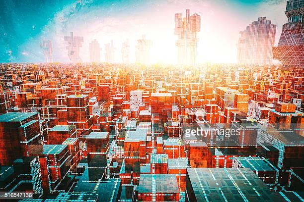 Denso, concurrido futurista paisaje urbano