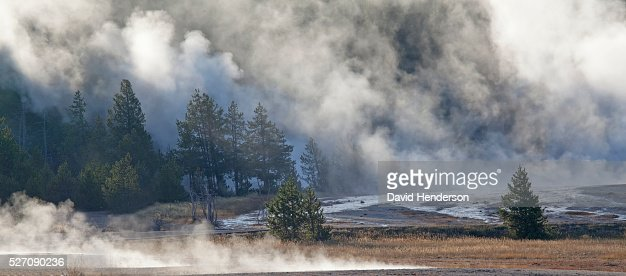 Dense early-morning thermal steam, Wyoming, USA : Stock-Foto