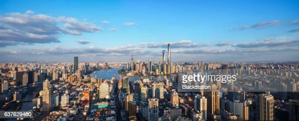 dense office buildings in Shanghai