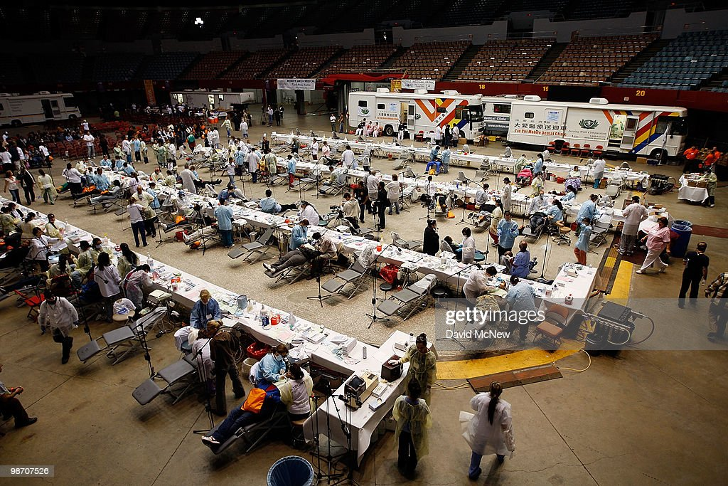 Dental care is performed at the Remote Area Medical (RAM) clinic at the Los Angeles Sports Arena on April 27, 2010 in Los Angeles, California. More than 6,000 people were given wristbands over the weekend, some of them waiting overnight, to receive the free medical, dental and vision care. RAM hopes to treat 8,400 patients at the event which runs from April 27 to May 3. A Los Angeles-area RAM event in 2009 provided more than 14,500 services to approximately 6,344 patients. Los Angeles is reportedly home to 2.2 million uninsured people.