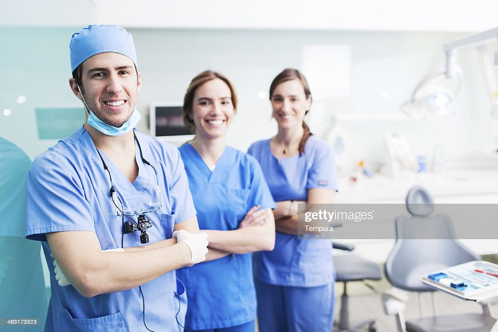 Dental health assistant and patient. : Stock Photo
