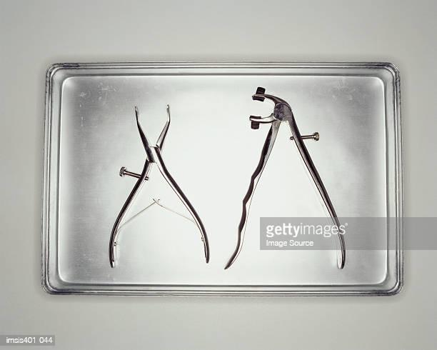Dental tools on metal tray