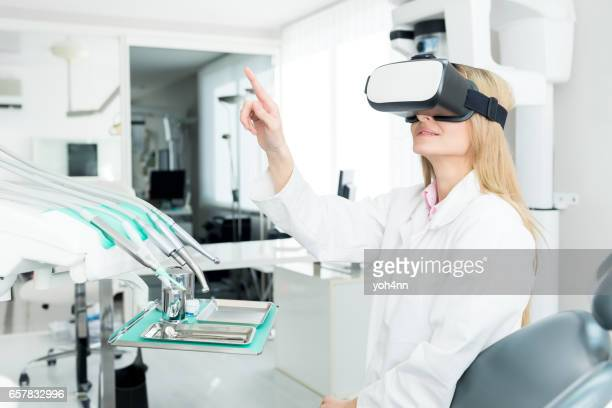 Dental worker touch screen & using Vr headset