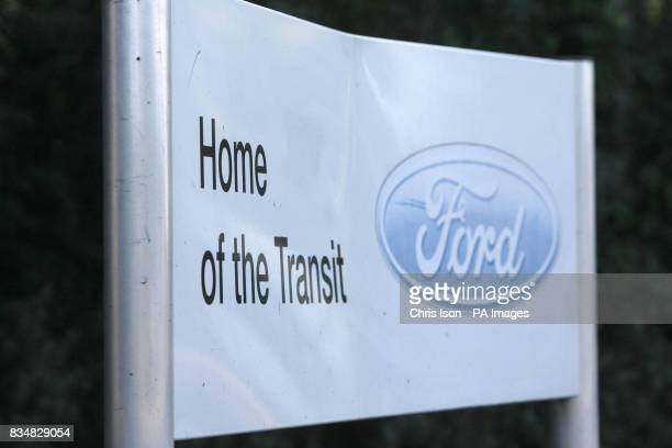 A dented sign welcomes visitors to the Ford factory in Southampton where workers have started a fourday week as the company cuts production in...