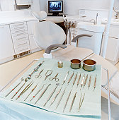 Dentist Chair and Dental Tools on a Trolley