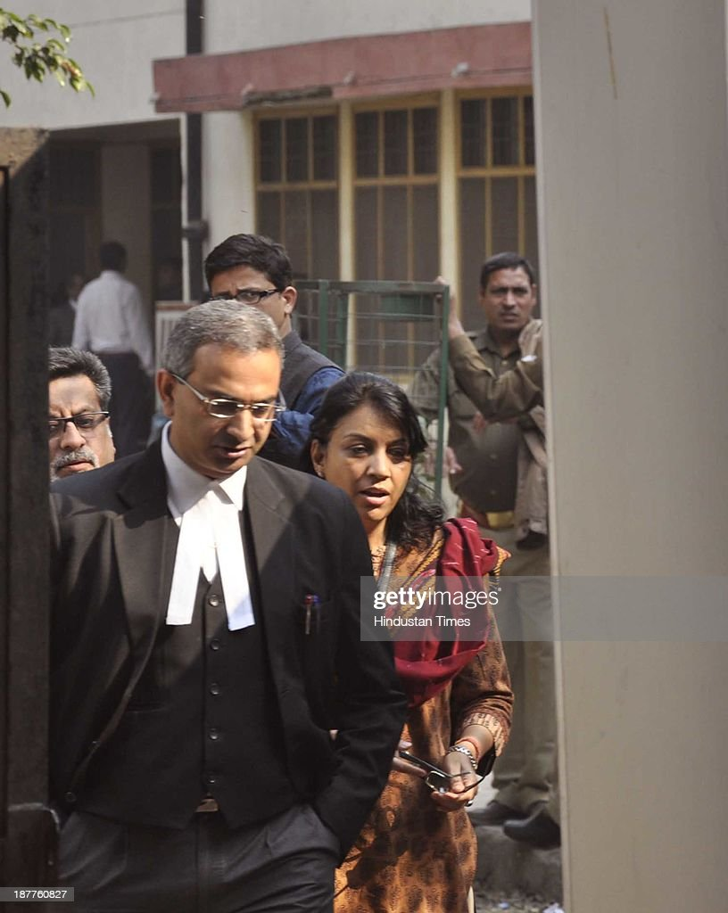 Dentist Nupur Talwar accused in Aarushi-Hemraj double murder case at CBI Court on November 12, 2013 in Ghaziabad, India. The verdict in the Aarushi-Hemraj double murder case will be ronounced November 25, a special CBI court hearing the case.
