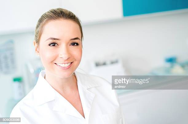 Dentist working at her practice