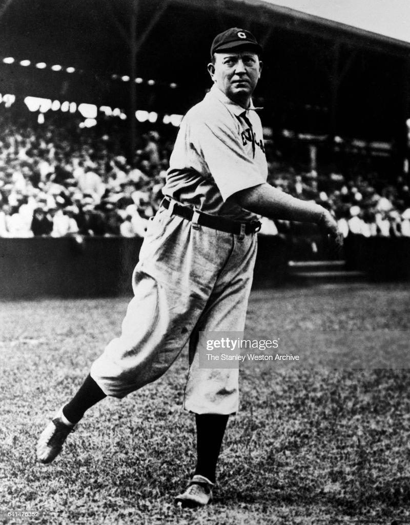 Denton 'Cy' Young, pitcher of the Cleveland Indians, in post-pitch position, circa 1910.
