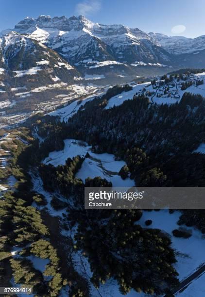 Dents du Midi overlooking Champery in Switzerland