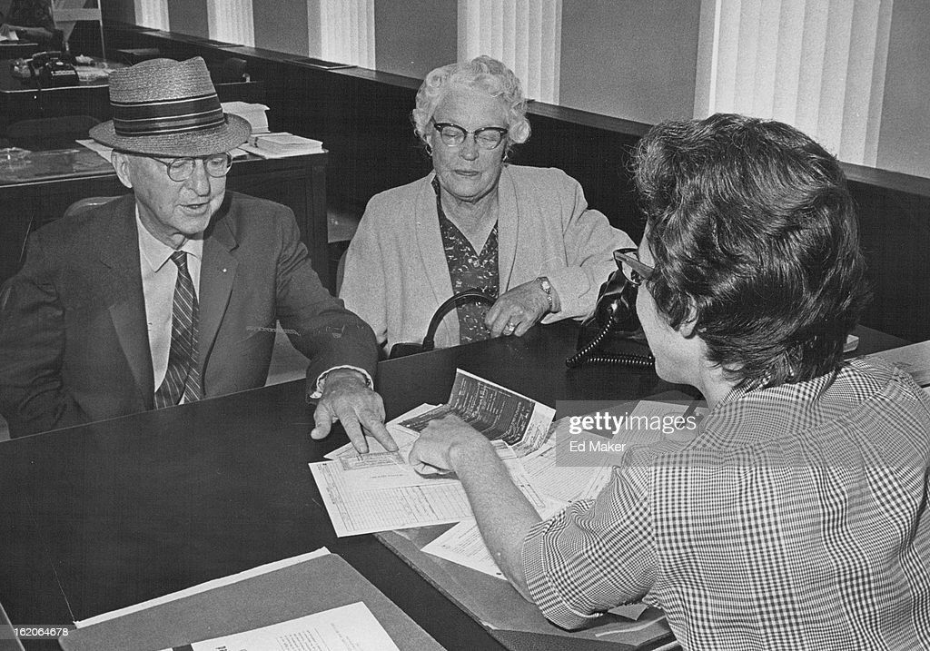 1965 SEP 1 1965 Denver Begins Medicare Enrollment Polly Graham right a claims representative for the Denver Social Security Office enrolls Mr and Mrs...