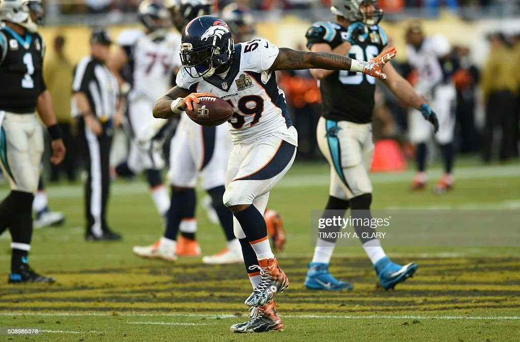 Denver Bronco Danny Trevathan (59) celebrates during Super Bowl 50 against the Carolina Panthers at Levi's Stadium in Santa Clara, California, on February 7, 2016. / AFP / TIMOTHY A. CLARY