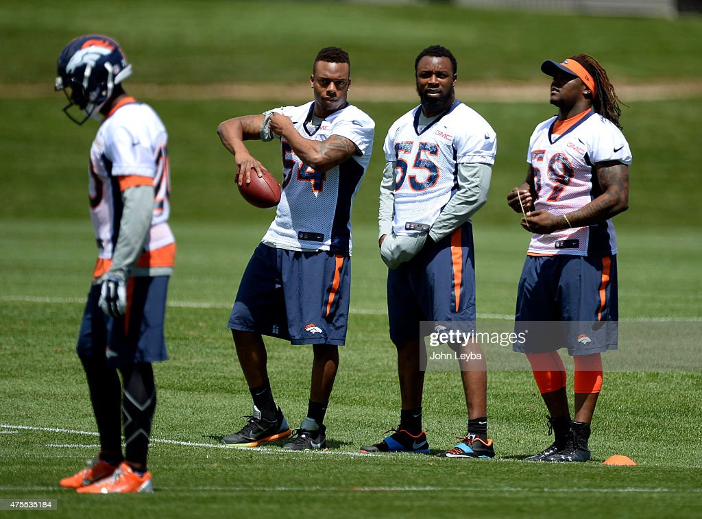 Denver Broncos Brandon Marshall (54) <a gi-track='captionPersonalityLinkClicked' href=/galleries/search?phrase=Lerentee+McCray&family=editorial&specificpeople=7418300 ng-click='$event.stopPropagation()'>Lerentee McCray</a> (55) and <a gi-track='captionPersonalityLinkClicked' href=/galleries/search?phrase=Danny+Trevathan&family=editorial&specificpeople=6475347 ng-click='$event.stopPropagation()'>Danny Trevathan</a> (59) watch practice from the sideline June 1, 2015 at Dove Valley.