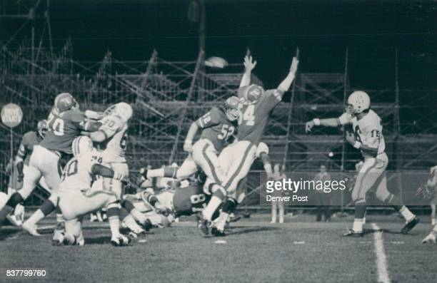 Denver Broncos Bronco blitz turns game around as pressure forces theft of plunkett pass Denver linebackers Chip Myrtle and Fred Forsberg pinch in on...
