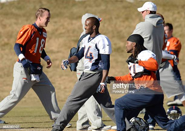 Denver Broncos Champ Bailey is warming up for the team practice at Dove Valley Centennial Colorado January 17 2014