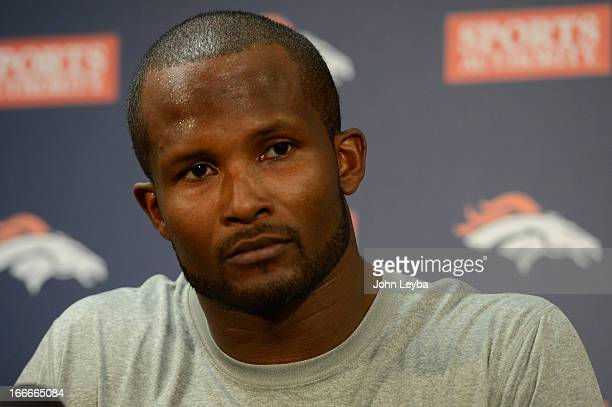 Denver Broncos Champ Bailey talks to the media in the press room during the beginning off season conditioning April 15 2013 at Dove Valley