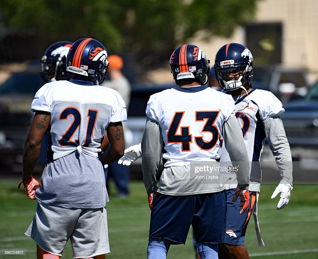 Denver Broncos cornerback Aqib Talib Denver Broncos strong safety TJ Ward Denver Broncos free safety Bradley Roby chat during practice August 26 2016...
