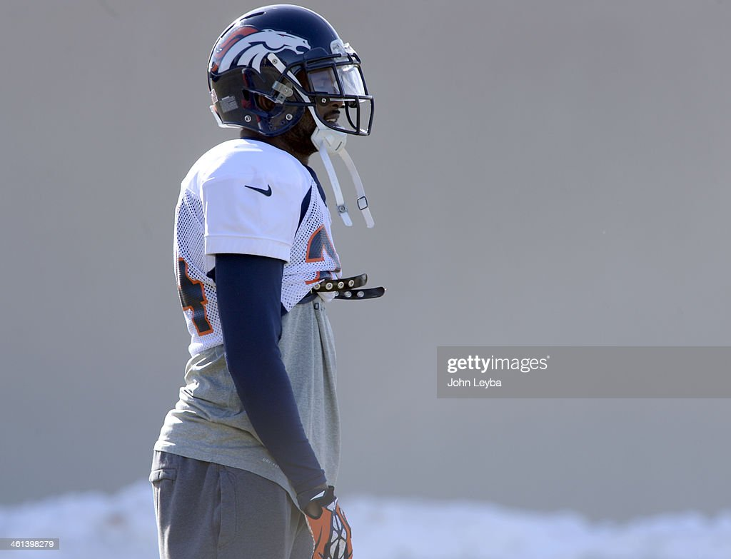 Denver Broncos cornerback Champ Bailey (24) looks on during practice January 8, 2014 at Dove Valley. The Denver Broncos are preparing for their Divisional Game against the San Diego Chargers at Sports Authority Field.