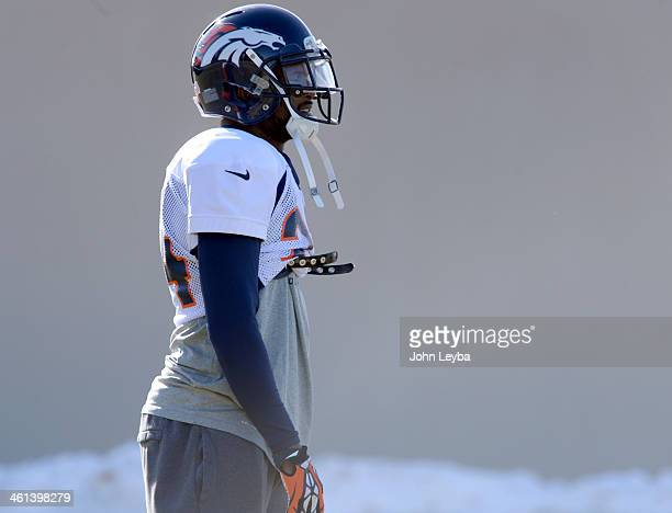 Denver Broncos cornerback Champ Bailey looks on during practice January 8 2014 at Dove Valley The Denver Broncos are preparing for their Divisional...