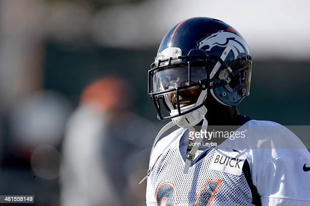 Denver Broncos cornerback Champ Bailey looks on during practice January 9 2014 at Dove Valley