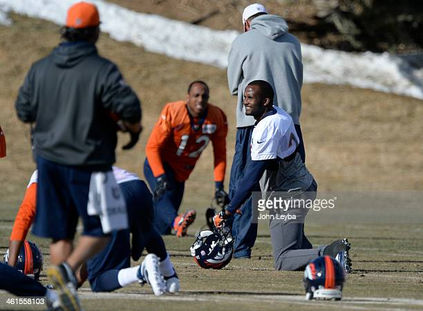 Denver Broncos cornerback Champ Bailey stretches before practice January 9 2014 at Dove Valley