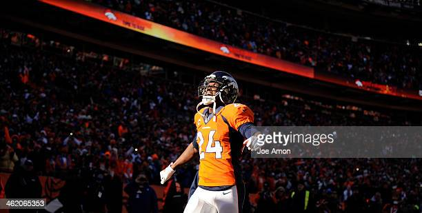 Denver Broncos cornerback Champ Bailey takes the field The Denver Broncos vs The San Diego Chargers in an AFC Divisional Playoff game at Sports...