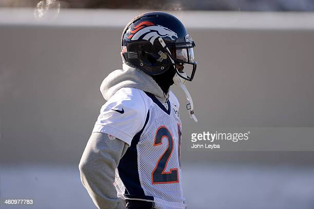 Denver Broncos cornerback Champ Bailey watches drills during practice January 6 2014 at Dove Valley as they prepare for the San Diego Chargers in the...