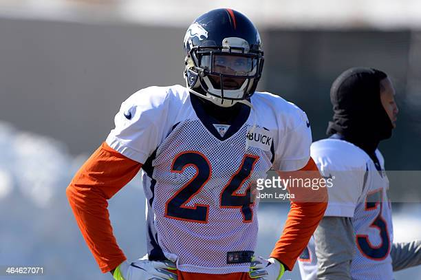 Denver Broncos cornerback Champ Bailey watches drills during practice January 23 2014 at Dove Valley