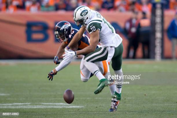 Denver Broncos cornerback Chris Harris Jr breaks up a pass intended for New York Jets receiver Jermaine Kearse during the New York Jets vs Denver...