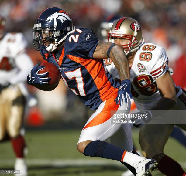 Denver Broncos cornerback Darrent Williams in action The San Francisco 49ers defeated the Denver Broncos by a score of 26 to 23 at Invesco Field at...