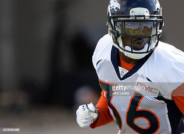 Denver Broncos cornerback Kayvon Webster runs through drills during the first day of the Denver Broncos 2014 training camp July 24 2014 at Dove Valley