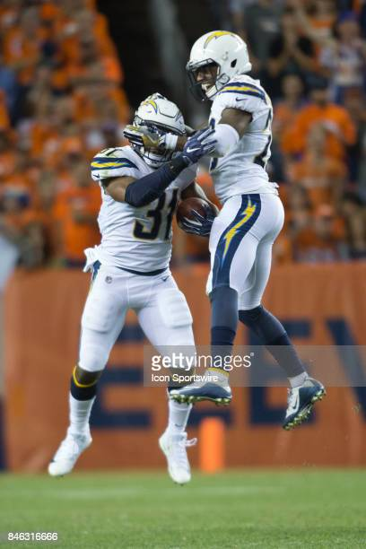 Denver Broncos defensive backs Adrian Phillips and Casey Hayward celebrate during the Los Angeles Chargers vs Denver Broncos Monday Night Football...