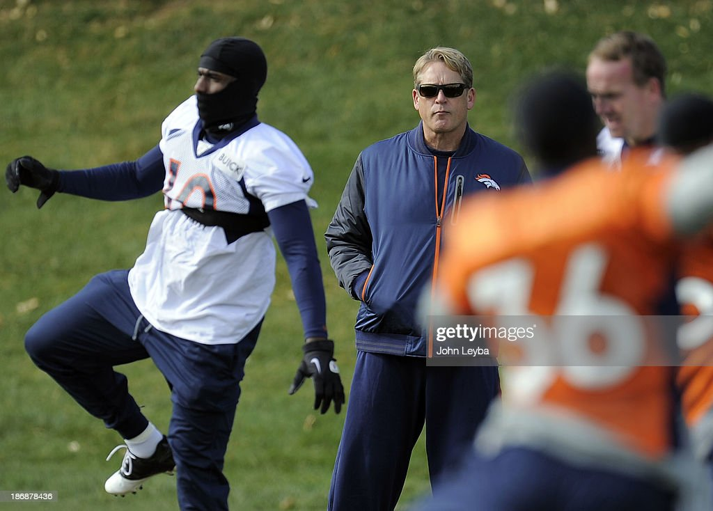 Denver Broncos defensive coordinator Jack Del Rio looks on during practice November 4, 2013 at Dove Valley. The Denver Broncos on Monday named Defensive Coordinator Jack Del Rio as the teams interim head coach, Executive Vice President of Football Operations John Elway announced.