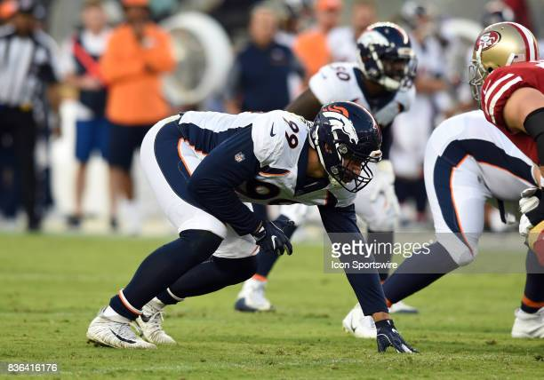 Denver Broncos Defensive End Adam Gotsis lines up at the line of scrimmage during an NFL preseason game between the Denver Broncos and the San...