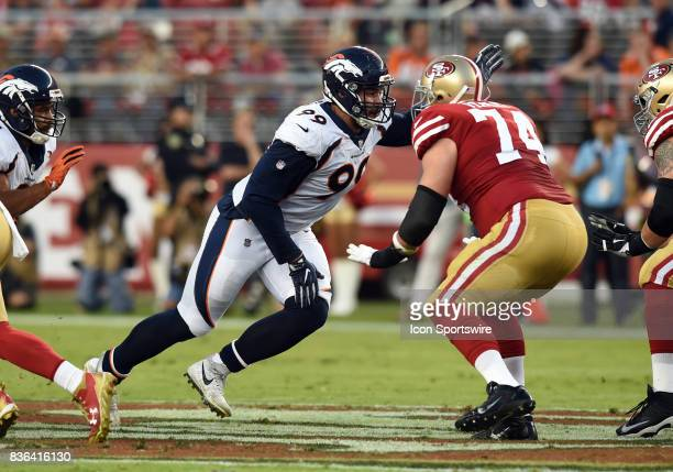 Denver Broncos Defensive End Adam Gotsis tries to break through the line around San Francisco 49ers Offensive Tackle Joe Staley during an NFL...
