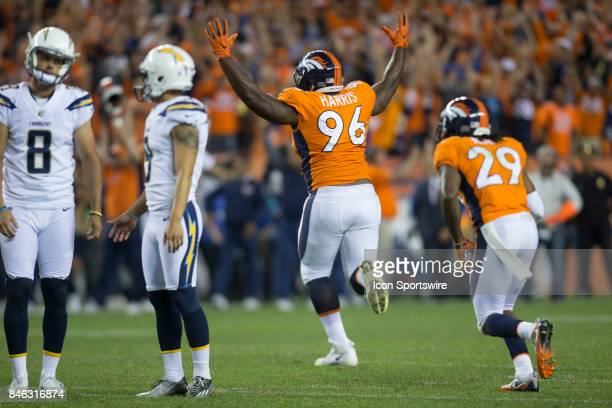 Denver Broncos defensive lineman Shelby Harris celebrates after blocking the potential game tying field goal in the 4th quarter during the Los...