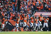 Denver Broncos defensive players from left Aqib Talib Chris Harris Von Miller Malik Jackson Darian Stewart Derek Wolfe and TJ Ward celebrate after an...