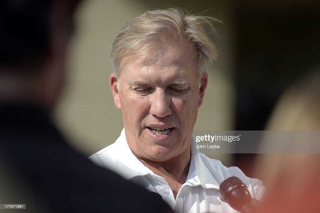 Denver Broncos Executive V.P. of Football Operations John Elway addresses the media to comment August 20, 2013 at Dove Valley on the six game suspension of linebacker Von Miller, handed down by the NFL for violating its drug policy.