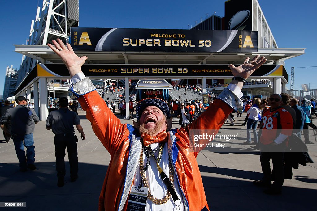 Denver Broncos fan 'Rocky the Leprechaun' poses outside of Levi's Stadium prior to Super Bowl 50 between the Denver Broncos and the Carolina Panthers on February 7, 2016 in Santa Clara, California.