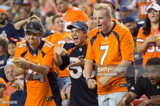 Denver Broncos fans cheer during the Arizona Cardinals vs Denver Broncos game on August 31 2017 at Sports Authority Field in Denver Colorado