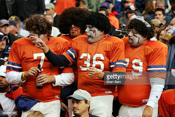 Denver Broncos fans cheer on their team against the Philadelphia Eagles on October 30 2005 before Halloween at Invesco Field at Mile High in Denver...