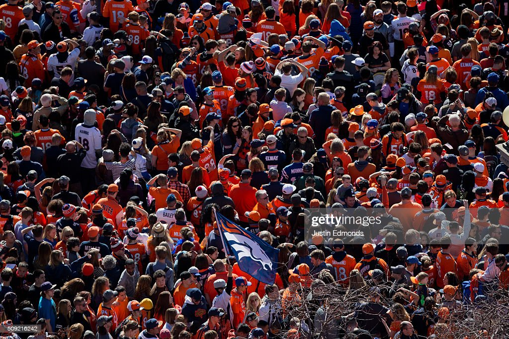 Denver Broncos fans gather for a rally at Civic Center Park following a victory parade to celebrate their Super Bowl championship on February 9, 2016 in Denver, Colorado. The Broncos defeated the Carolina Panthers 24-10 in Super Bowl 50.