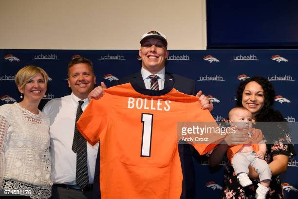 Denver Broncos first round draft pick Garett Bolles with guardians Emily and Greg Freeman left and his wife Natalie and their son Kingston 4monthsold...