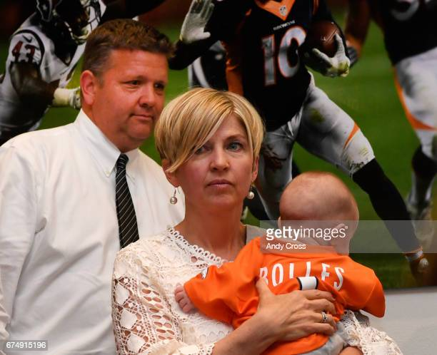Denver Broncos first round pick Garett Bolles guardians Greg and Emily Freeman along with Garett's 4monthold son arrive for Garett's introductory...