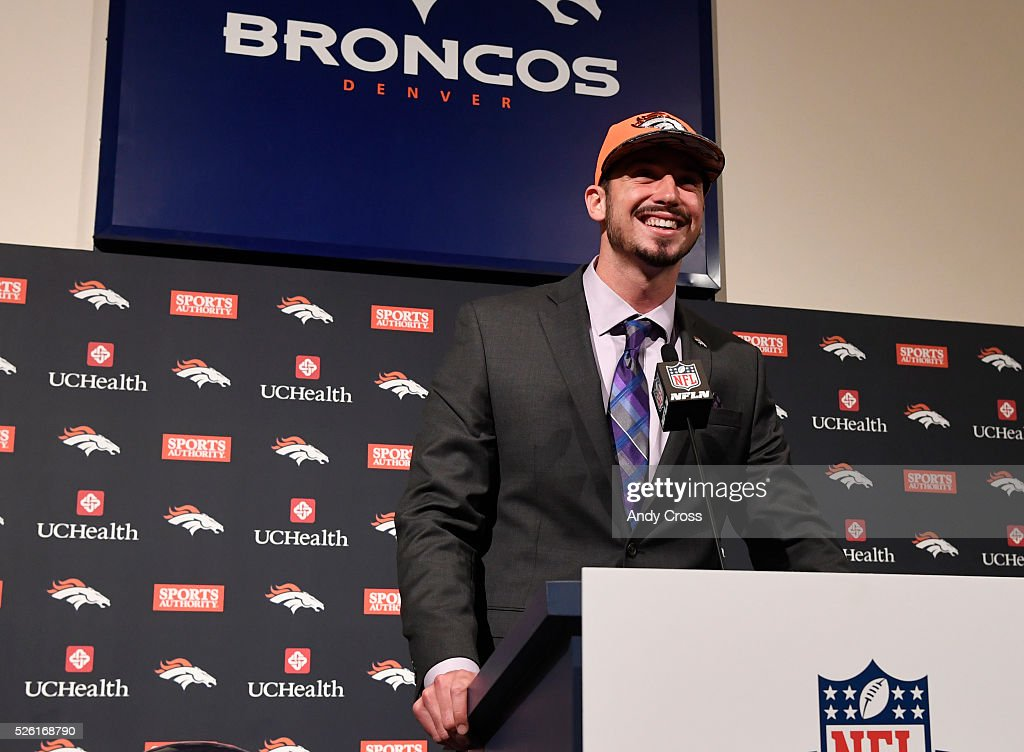 Denver Broncos first round pick QB <a gi-track='captionPersonalityLinkClicked' href=/galleries/search?phrase=Paxton+Lynch&family=editorial&specificpeople=11353849 ng-click='$event.stopPropagation()'>Paxton Lynch</a> during his introductory press conference at Broncos headquarters April 29, 2016.
